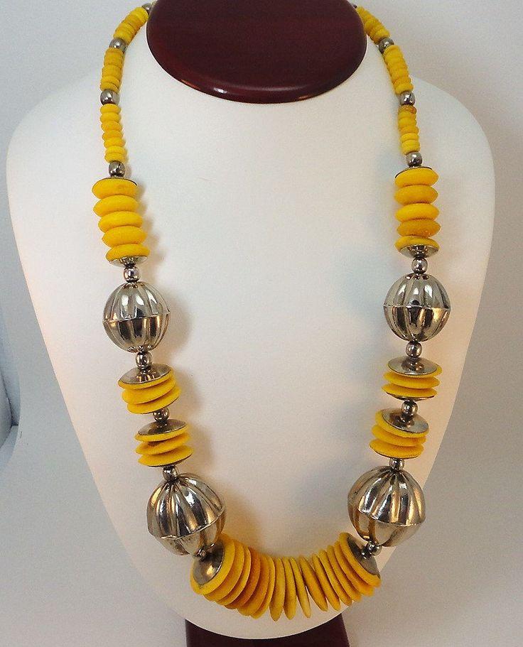 70s Silvertone/Yellow bone bold tribal necklace by LoukiesWorld on Etsy