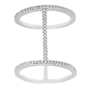 Sterling Silver Micro Pave CZ Vertical Bars Big Ring  #krissylovesbling