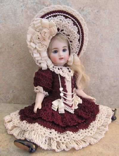 """VICTORIAN STYLE CROCHETED DRESS SET FOR 7 1/2""""ALL BISQUE DOLL by Tina (05/06/2013)"""