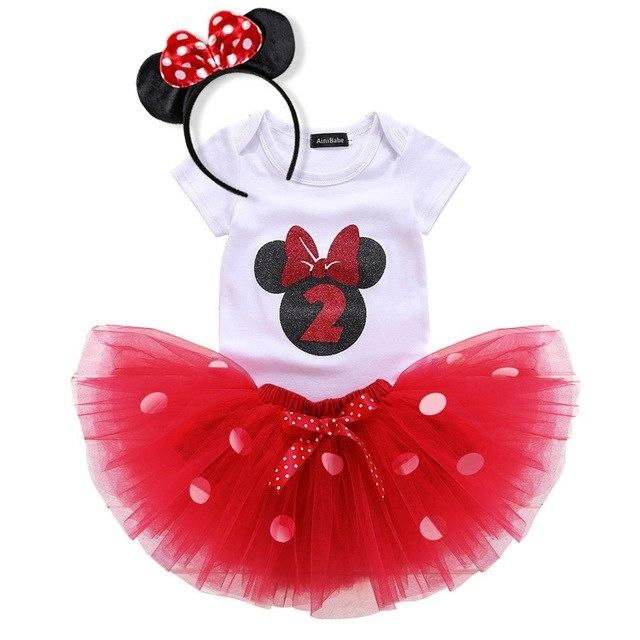 3pcs Baby Girl First 1st Birthday Minnie Outfits Party Dress Tutu Skirts Sets
