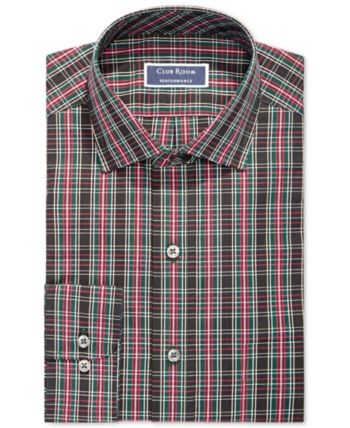 Assorted Club Room Men's Slim Fit Spread Collar Plaid Dress Shirts, Created for Macy's – Red/Navy 16 32/33