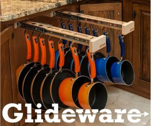 Install Glideware in Cabinet For Easy Access To Pots & Pans : this is a new product and way to protect your pots and pans and find the size you need - easily!