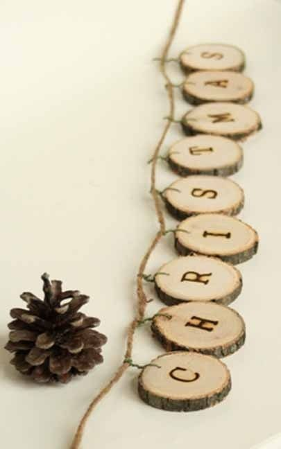 wood chip garland to spell Merry Christmas - DIY rustic holiday decor