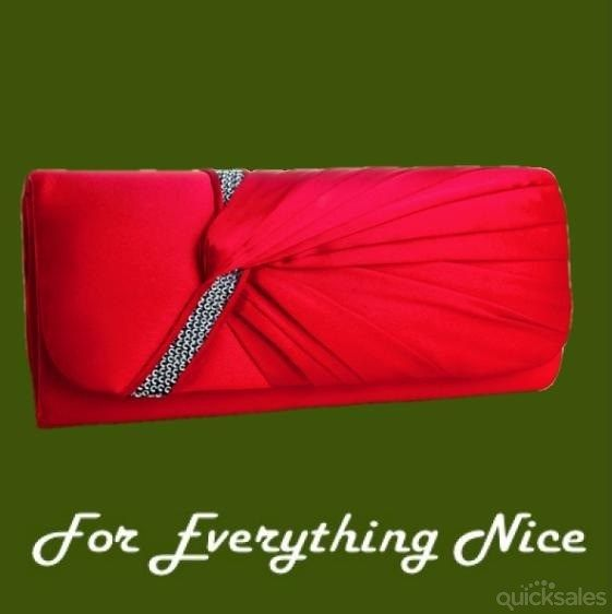Scarlet Red Gathered Pleats Satin Sequin Accents Evening Bag Bridal Purse by JRMB7339 - $70.00