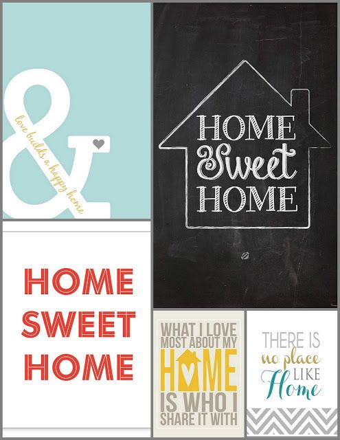 """Fabulous round-up with lots of FREE """"home"""" printables! These prints would be great to frame and put up in a gallery wall."""