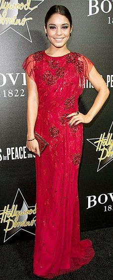 Vanessa Hudgens dressed in Jenny Packham at the Hollywood Domino & Bovet 1822's Pre-Oscar Gala