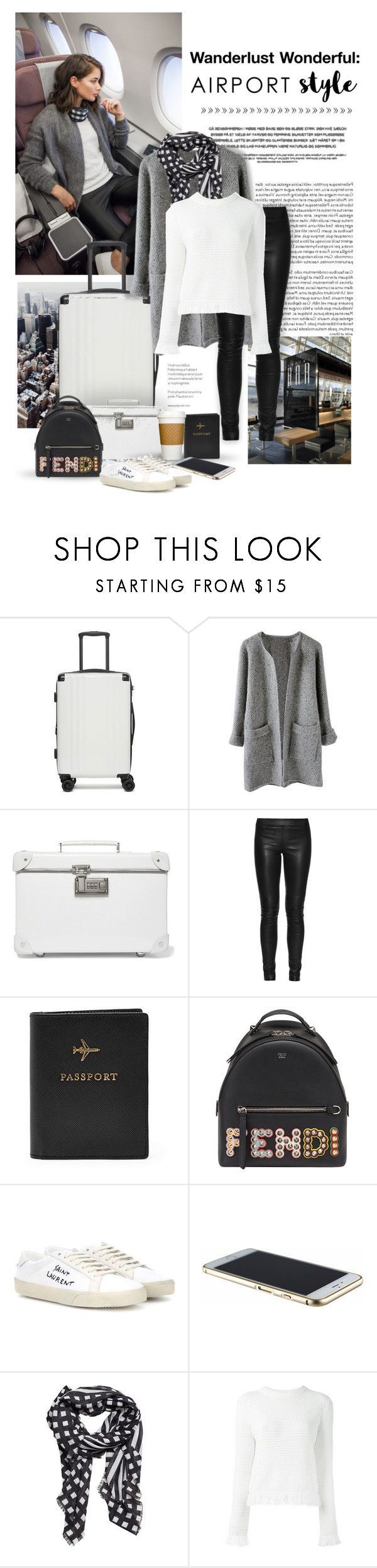 """Wanderlust Wonderful: Airport Style"" by m-aric ❤ liked on Polyvore featuring CalPak, Globe-Trotter, The Row, FOSSIL, Fendi, Yves Saint Laurent, MANGO, Proenza Schouler, fendi and proenzaschouler"