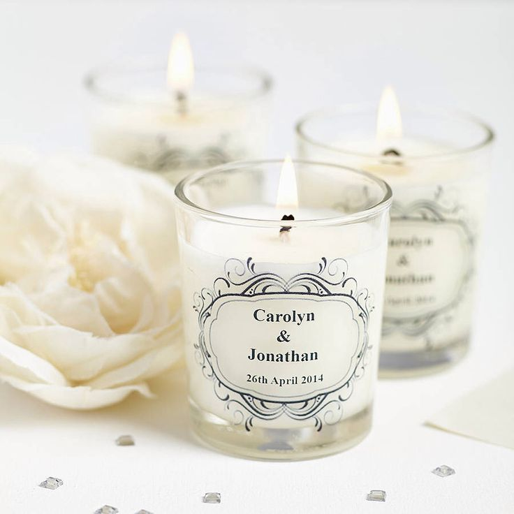 I've just found Wedding Favour Personalised Scented Candles. Personalised Wedding Favours; wow your guests with these personalised luxury hand poured scented candles made with high quality essential oil and Eco Soy Wax.. £4.90