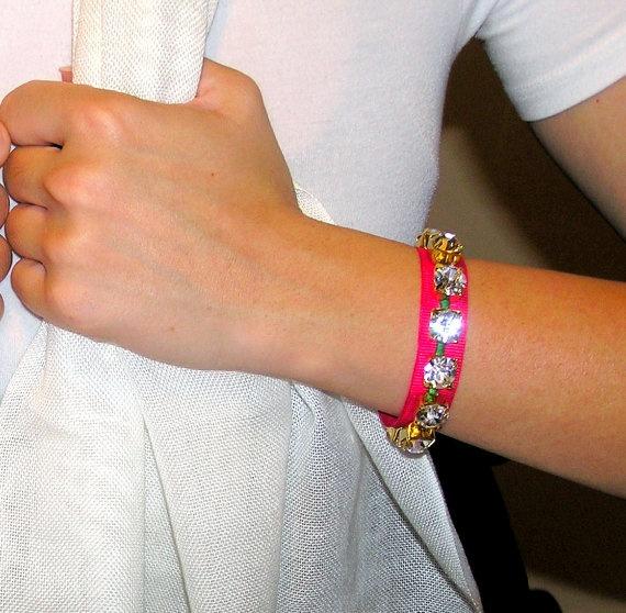 Fuchsia neon textile rhinestone bracelet by Sinners on Etsy