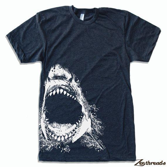 Mens SHARK american apparel T Shirt S M L XL 16 by ZenThreads, $18.00