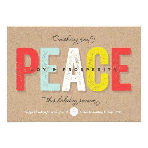 Colorful & Bright Bold Kraft Paper Peace Joy Prosperity