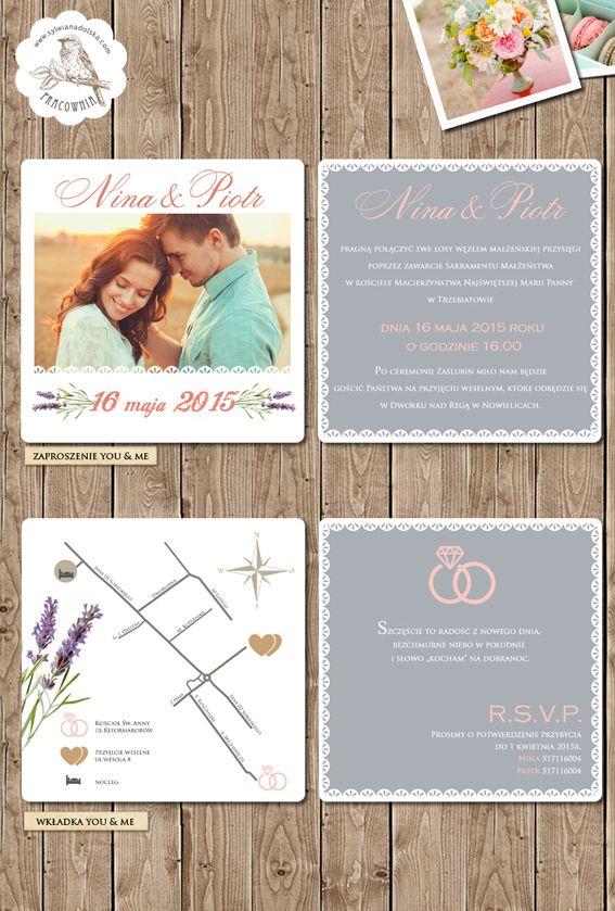"""Zaproszenia Ślubne """"YOU & ME""""  Prześliczne zaproszenie idealnie pasujące do uroczystości w np. stylu boho i vintage. /// #sylwianadolska #zaproszeniaslubne #zaproszenianaslub #zaproszenia #slub #wesele #wedding   #lawenda #boho #vintage #winietki #papeteria #dodatkislubne #zaproszenia"""