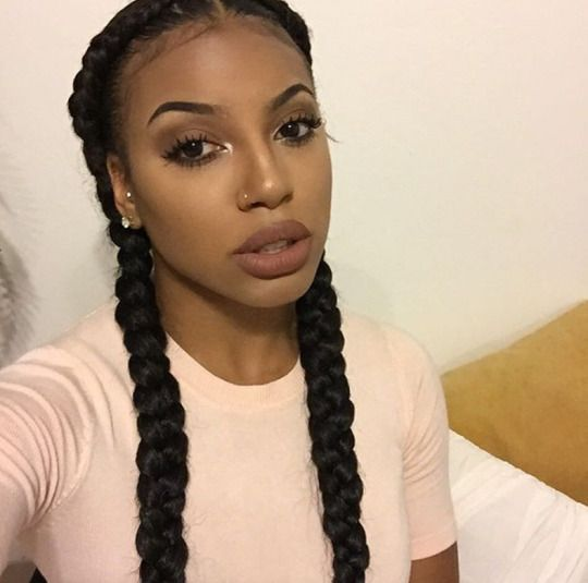 Image result for double braid hairstyles with weave