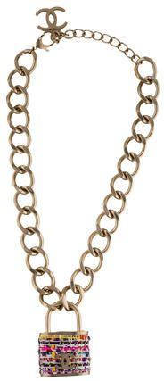 Chanel Tweed Padlock Necklace w/ Tags