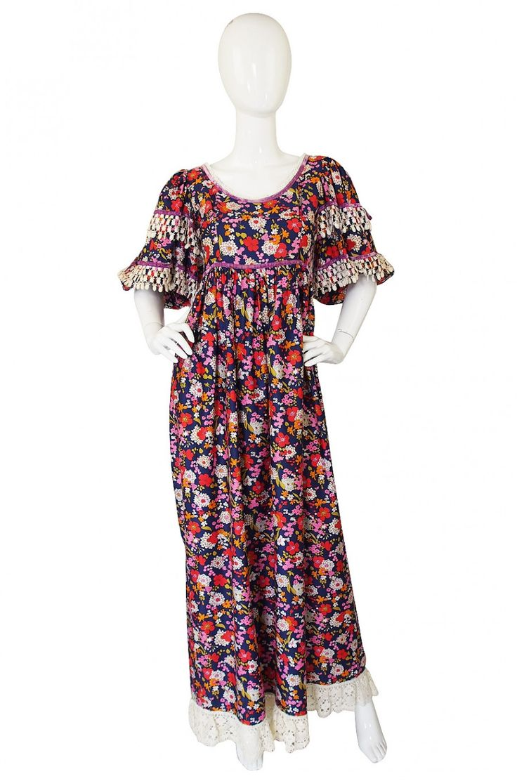 1960s Gina Fratini Cotton Floral Print Dress