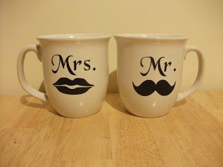 Cute couple mugs tutorial from Our Seven Dwarfs