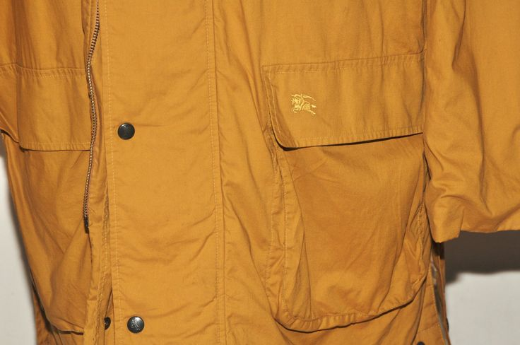 "BURBERRY MEN'S HIKING JACKET 100 COTTON SHORT COAT 46"" R MUSTARD YELLOW in Clothes, Shoes & Accessories, Men's Clothing, Coats & Jackets 
