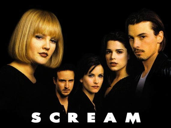 Scream - Starring: Courteney Cox and Neve Campbell.  Great, gruesome classic!