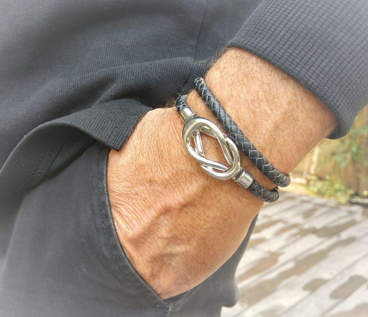 Men's bracelet, double hook braided leather cord bracelet, friendship infinity knot magnetic clasp design, men nautical  bracelet cuff by MyERA4u on Etsy