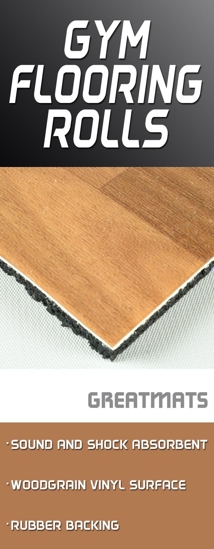 One of the most unique and style gym flooring rolls available. This floor his sound and shock absorbent and features a wood grain vinyl surface.
