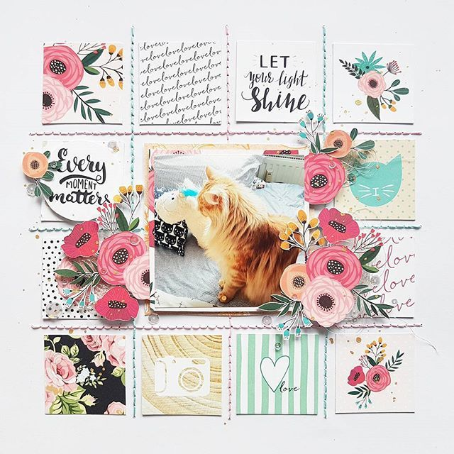 And here is the finished layout. Using florals and pastells with pictures of my tomcat gives me unholy amounts of glee. Featuring @websterspages' A New Day collection, available as always at @scrapbookwerkstatt. #sbwdesignteam #sbw #scrapbookwerkstatt #scrapbooking #papercraft #papercrafting #craft #crafting #diy #scrapbooklayout #patternedpaper #memorykeeping
