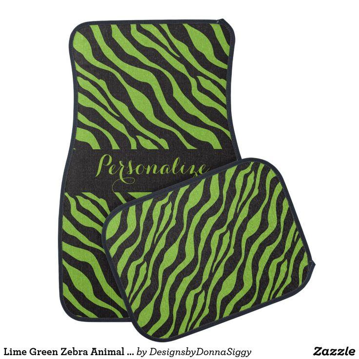 Lime Green Zebra Animal Stripes DIY Name Car Mat
