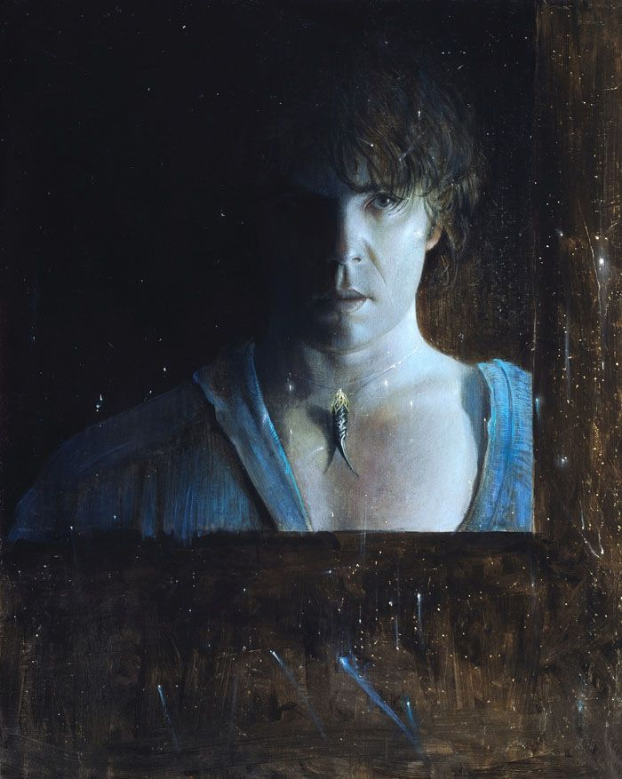Sel-portrait with fireflies 2008  oil on canvas, cm 50 x 40