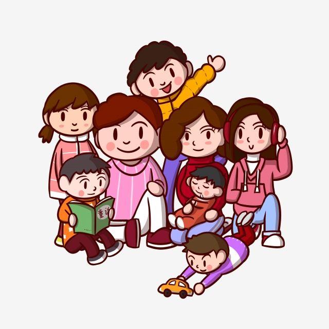 رسوم متحركة صورة العائلة عائلة عائلة كبيرة عائلة الآباء طفل Png وملف Psd للتحميل مجانا Family Cartoon Portrait Cartoon Cartoon Clip Art
