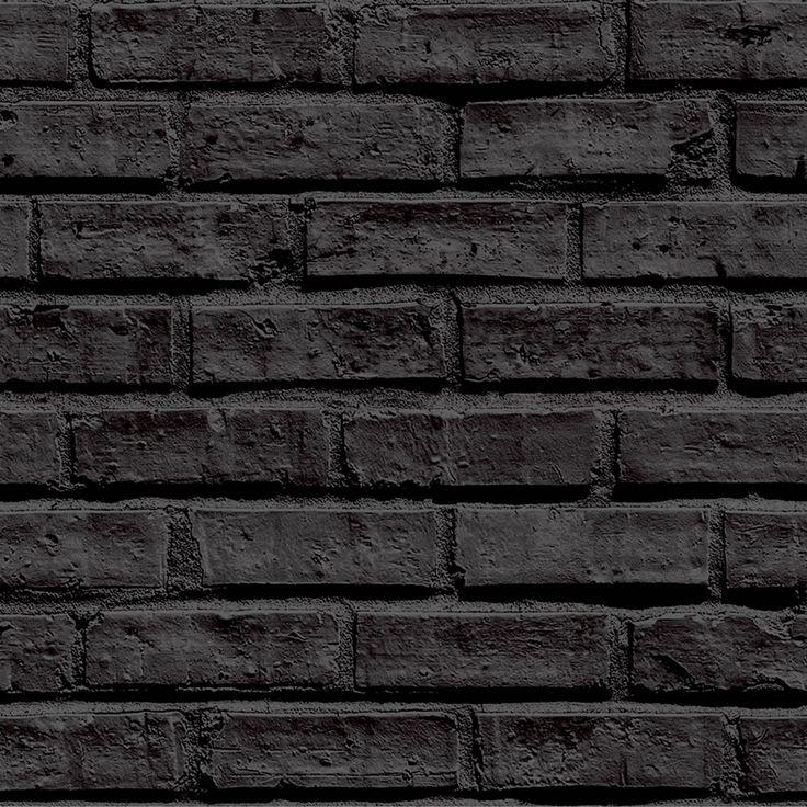 Black brick wallpaper test shoot pinterest black for Black brick wallpaper bedroom