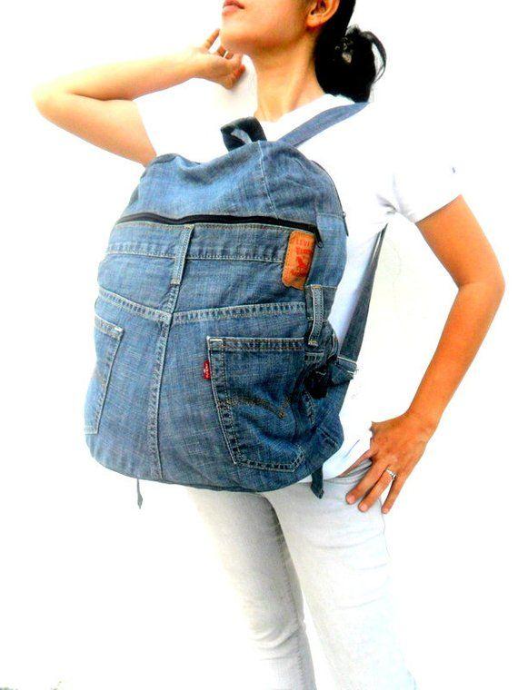 Denim Backpack, Levis jeans, jean bag, recycled jeans, Vintage Bag ... e6c6724134