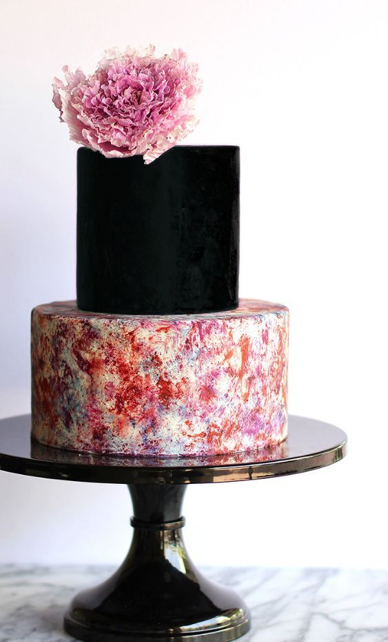 Featured Cake: Winifred Kristé Cake; Creative two tier black and multi color printed wedding cake