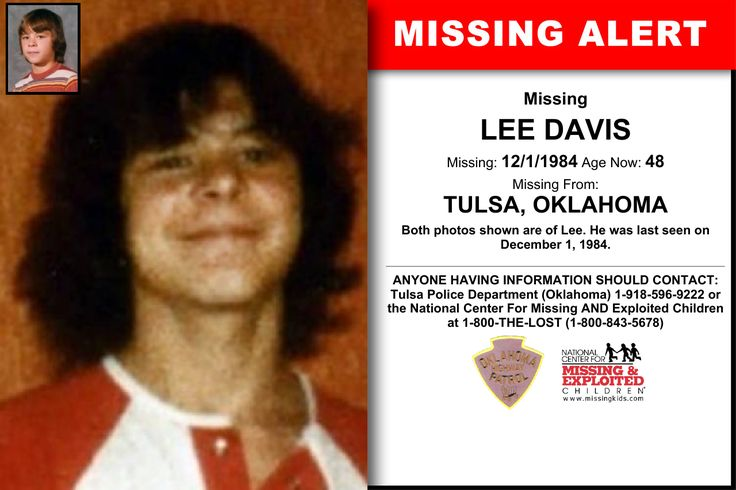LEE DAVIS, Age Now: 48, Missing: 12/01/1984. Missing From TULSA, OK. ANYONE HAVING INFORMATION SHOULD CONTACT: Tulsa Police Department (Oklahoma) 1-918-596-9222.