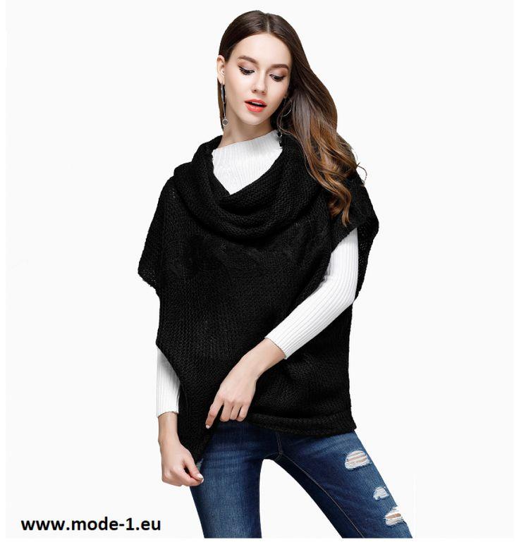 Kurzarm Damen Pullover in Schwarz
