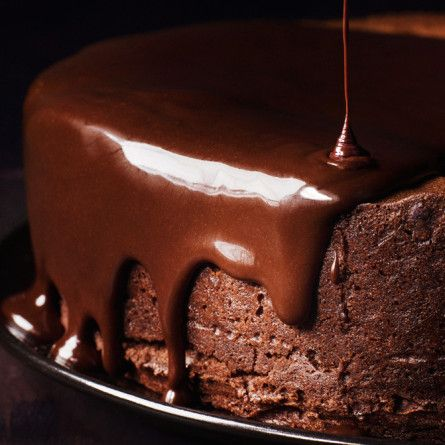 Darkest Chocolate Cake with Red Wine Glaze Recipe