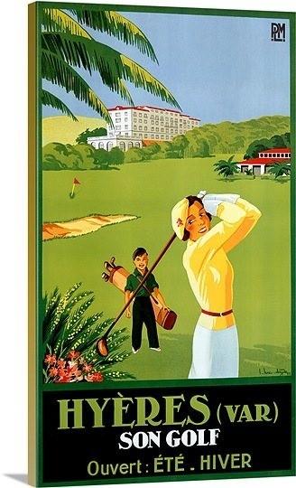Hyeres Son Golf Vintage Printed On Canvas