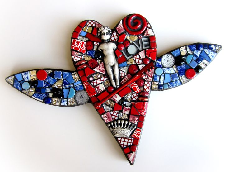 heart with wings. winged heart. mixed media mosaic. stained glass mosaic. polymer clay tile. heart. love. wedding gift.