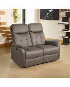 Canapé Relax électrique 2 places Gris - ALICIA - L 140 x l 90-170 x H 106-83 - NEUF