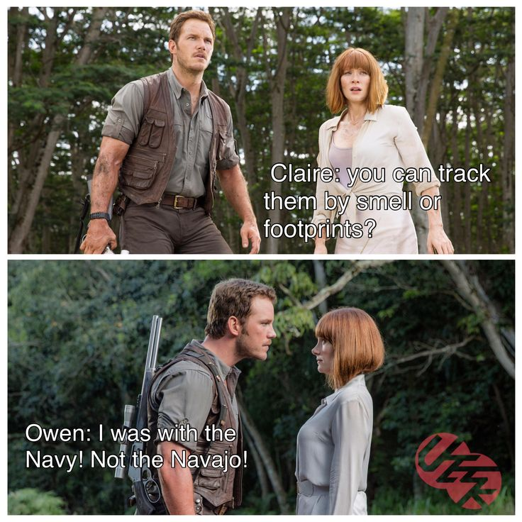 Owen and Claire in Jurassic world