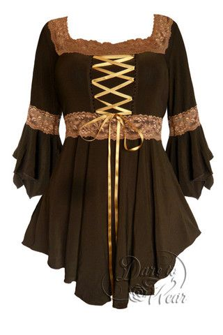 Dare To Wear Victorian Gothic Renaissance Corset Top Brown/Gold