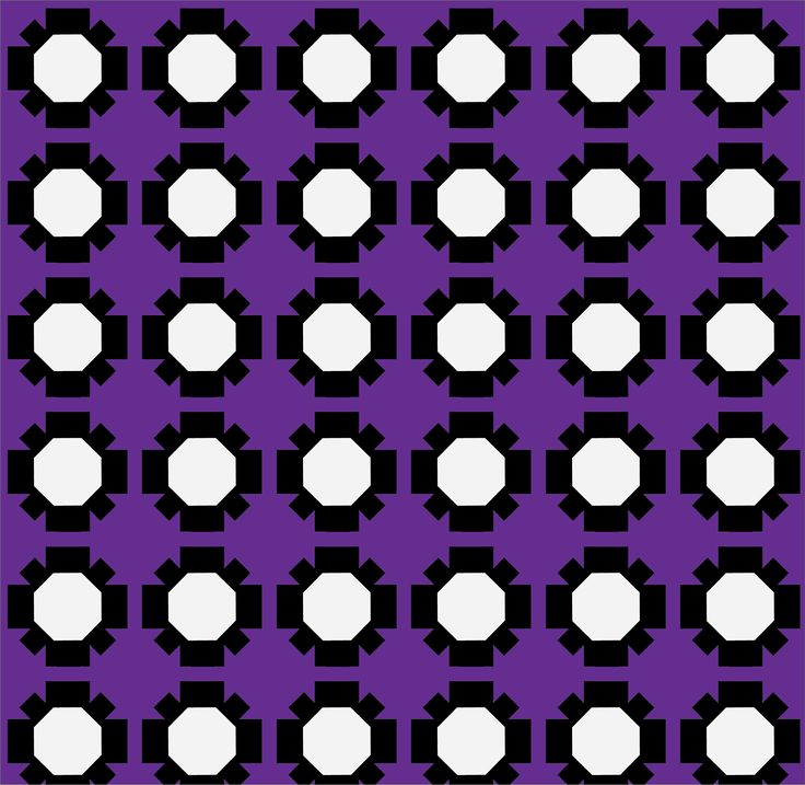 A simple pattern, consisting of several black and white flowers on a purple background