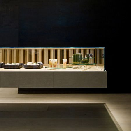 Japanese designers Case-Real completed the interior of a pastry shop and tearoom in Fukuoka, Japan.