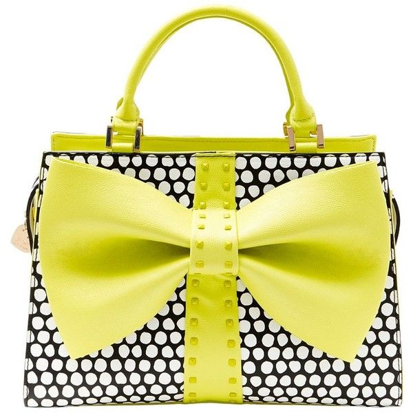 Betsey Johnson Curtsy Bow Satchel Handbag found on Polyvore featuring bags, handbags, citron, structured purse, faux leather purse, satchel handbags, faux-leather handbags and structured handbag