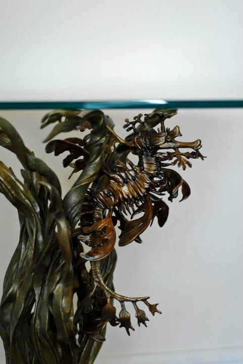 Leafy sea dragon bronze end tables by Kirk McGuire Sculpture