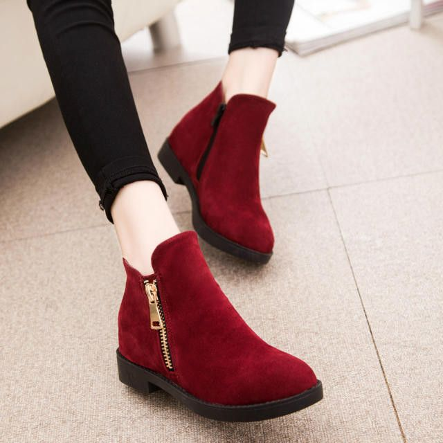 Autumn Single Side Zippers Flat Ankle Boots