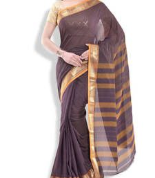 Buy Purple border saree cotton saree cotton-saree online
