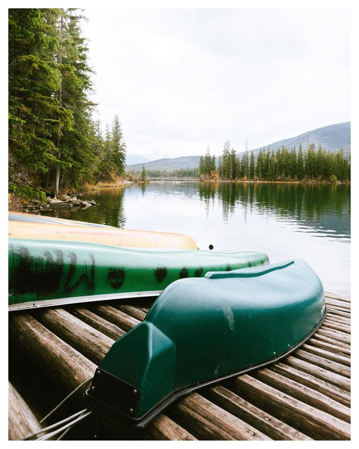Canoes at rest by Pyramid Lake Jasper  Autumn 2016