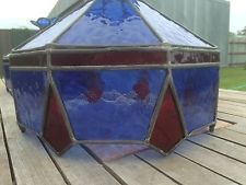 Vintage leadlight stained glass ceiling pendant light shades X 2