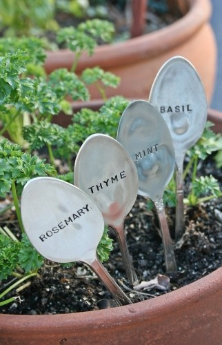 for the balcony herb garden -- Basil Mint Rosemary Thyme Silverware Garden Marker Set By Beach House Living eclectic gardening tools, $30