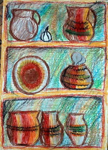 Полочка с посудой. Масляная пастель.: marina_le