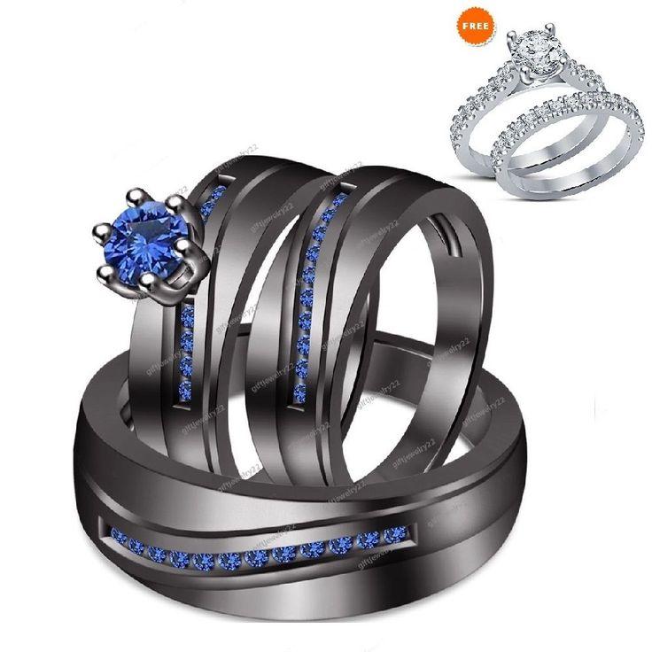 Trío Azul Zafiro Anillo De Boda Bandas de su ella Set 14K Negro Oro 1.50 quilates | Joyería y relojes, Compromiso y boda, Juegos de anillos de compromiso y boda | eBay!